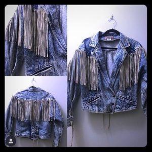 Jackets & Blazers - 1980s Vintage Acid Wash Leather Fringe Coat
